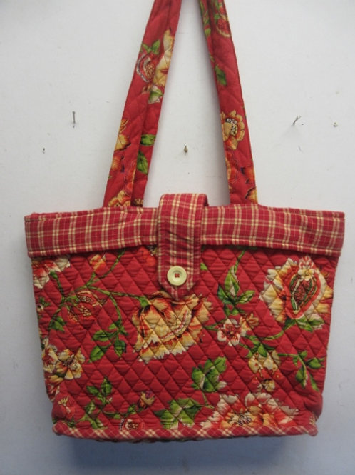 April Cornel large red quilted tote bag