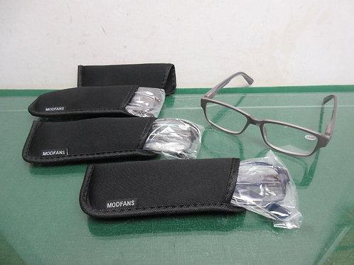 Set of 4 reading glasses +300, black, gray, blue & tortoise shell frames