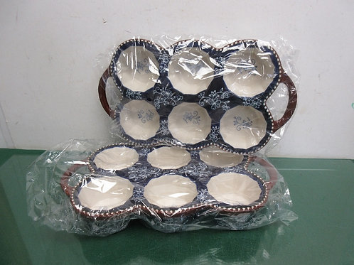 Temptations Floral Lace set of two 6 cup muffin pans - blue - brand new