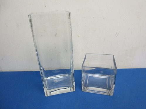 """Pair of heavy glass vases, 3x4x10"""" and 4x4x4"""""""
