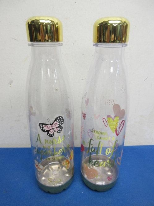 Pair of water bottles with sayings, Nurse is superhero... Strong smart...
