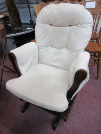 Cherry gliding platform rocker with ivory microsuede seat, back and arm covers