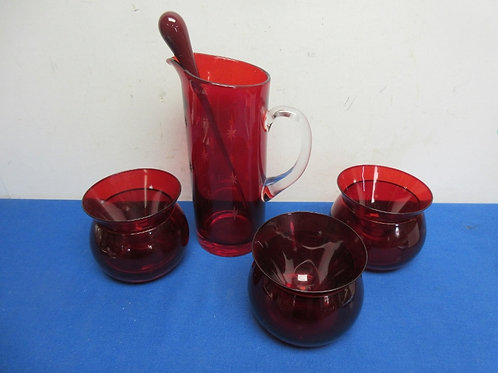 Unusual group of 3 red martini glasses with red glass pitcher & stirrer