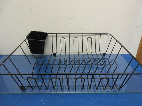 Black metal dish drying rack with drain tray