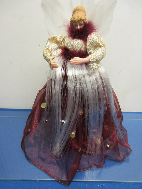 Tree top Angel in burgundy dress, lights up