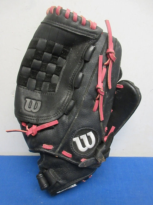 Full size right handed fielding glove, black with pink laces