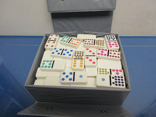Double 15 Domino Set by Cardinal in gray case