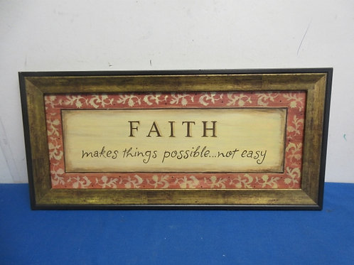 """""""Faith makes things possible, wooden wall hanging, 11x23"""""""