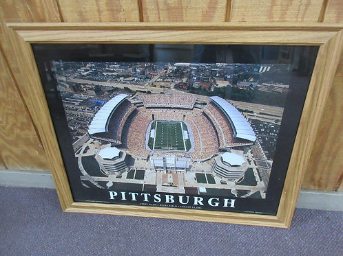 Aerial view of the first game at Heinz Field - Aug 25, 2001 wood frame - 26x31
