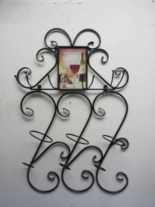 Black metal hanging wine bottle and glass holder - wine print in center top