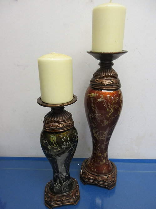 "Pair of ornate earthtone pillar candle stands w/candles -12"" and 16"""
