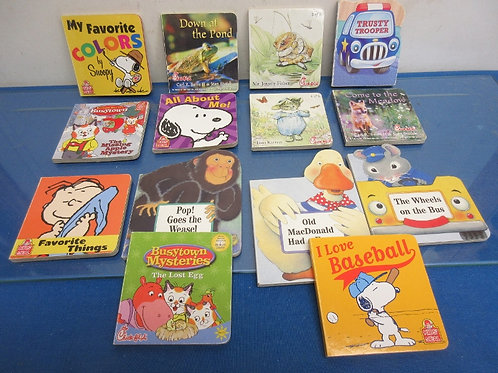 Set of 14 assorted small story books, Busytown Mysteries, Peanuts books and more