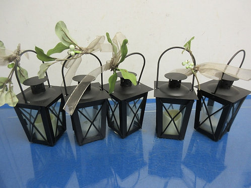 Set of 5 small black metal lanterns with battery candles