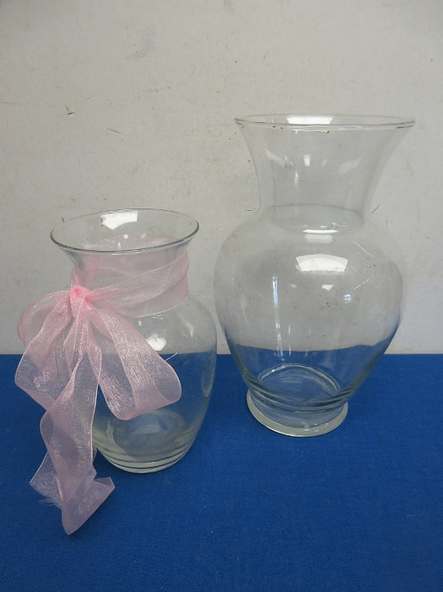 """Pair of glass vases, 9"""" & 11"""" tall"""