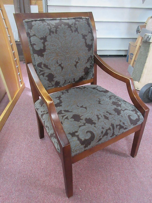 Wooden frame accent chiar with dark floral upholstered seat & back, 2 available