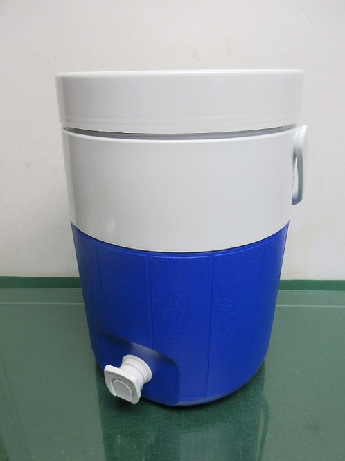 Coleman blue and white gallon drink container with spigot dispenser