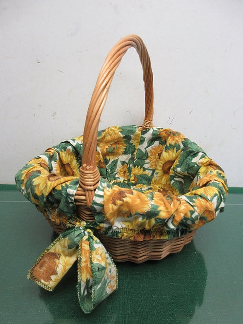 "Wicker basket with sunflower cloth liner, 10"" dia x 5x4"""