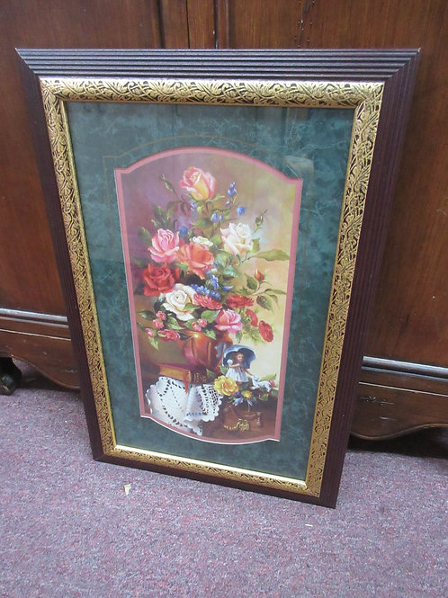 """Picture of girl & flowers in brown frame 15x23"""""""
