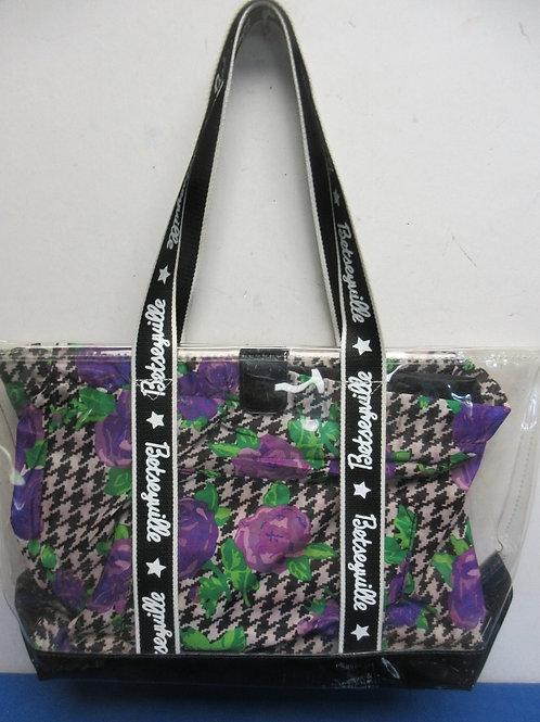 Clear plastic Betseyville stadium purse purple flower design