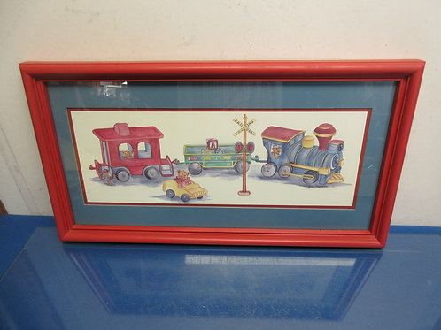 Watercolor print of train and teddy bears