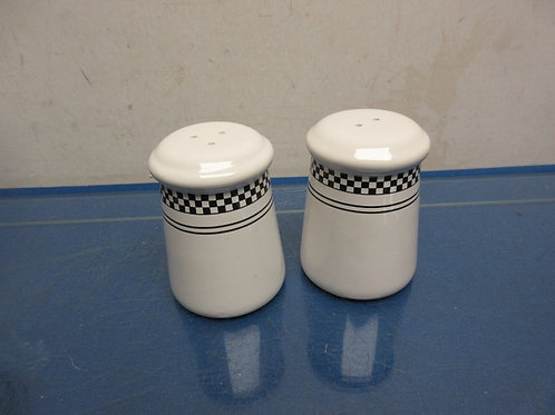 Emeril black and white salt and pepper shakers