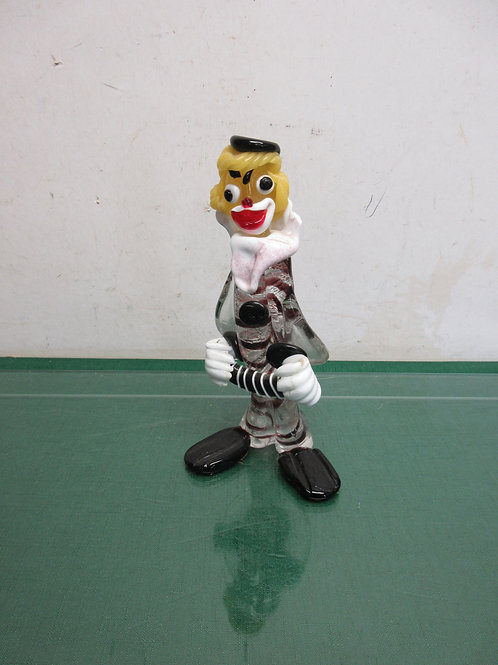 """Vintage Murano colorful glass clown with an accordian,9""""high"""
