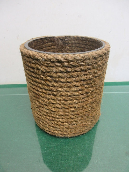 """Jute wrapped glass canister-6""""diameter x 7"""" high"""