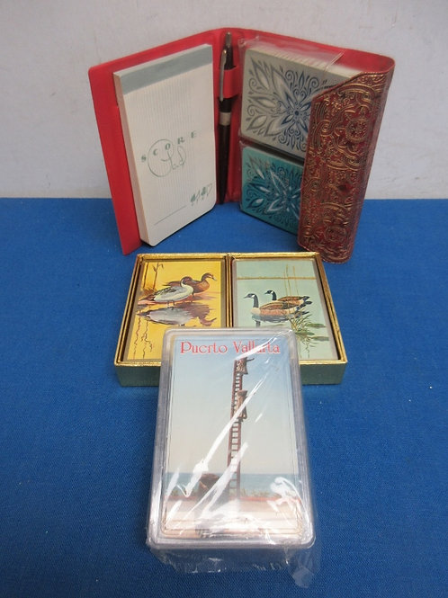 Five decks of playing cards, New/sealed, with score pad case