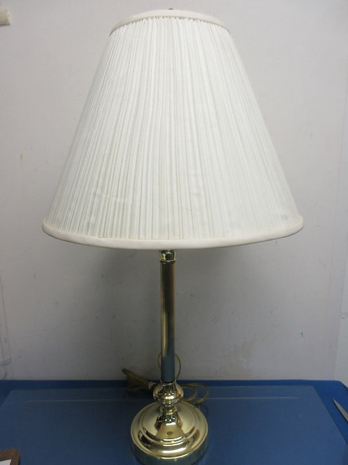 "Gold stick lamp with white pleaded shade 29"" high"
