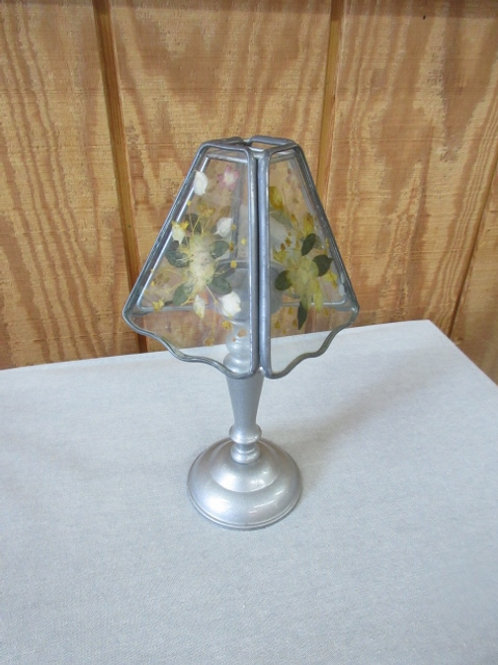 Small silver tea lite lamp with stained glass style shade