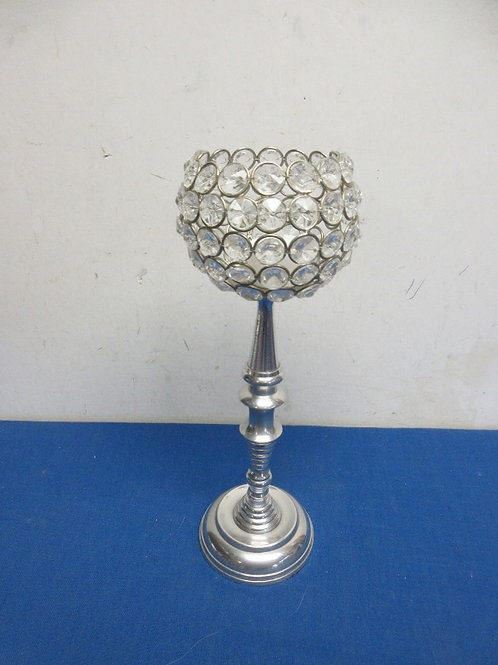 """Silver pedestal bejeweled tea light candle stand, w/battery candle, 12""""high"""
