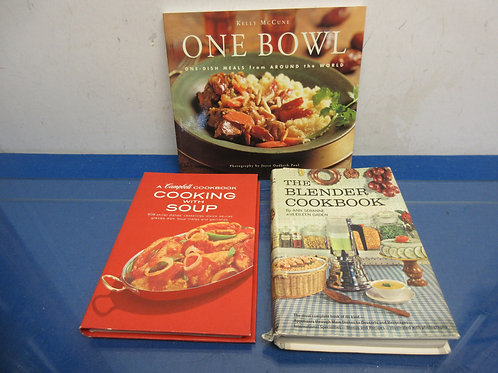 Set of 3 cookbooks-blender cookbook, one bowl meals, & cooking with soup