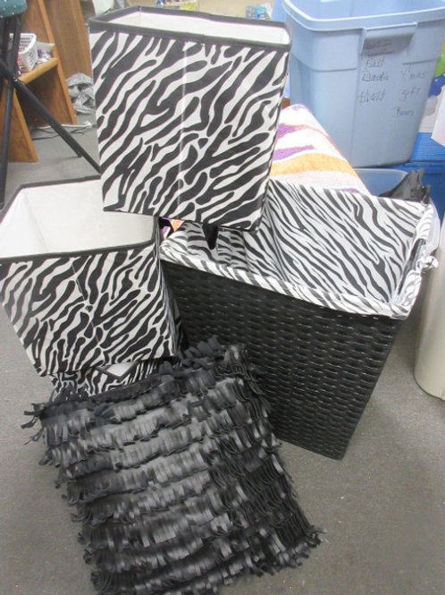 Black and zebra print 5pc room accessories, hamper,pillow, 3 bins