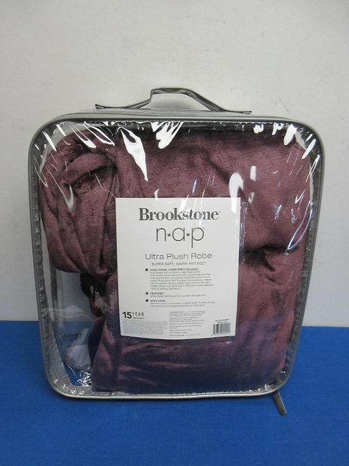 Brookstone N.A.P. ultra plush maroon robe - size small - new