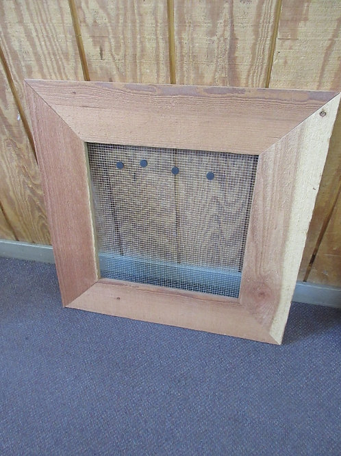 Rustic natural wood framed magnetic wire center wall hanging/organizer,27x27