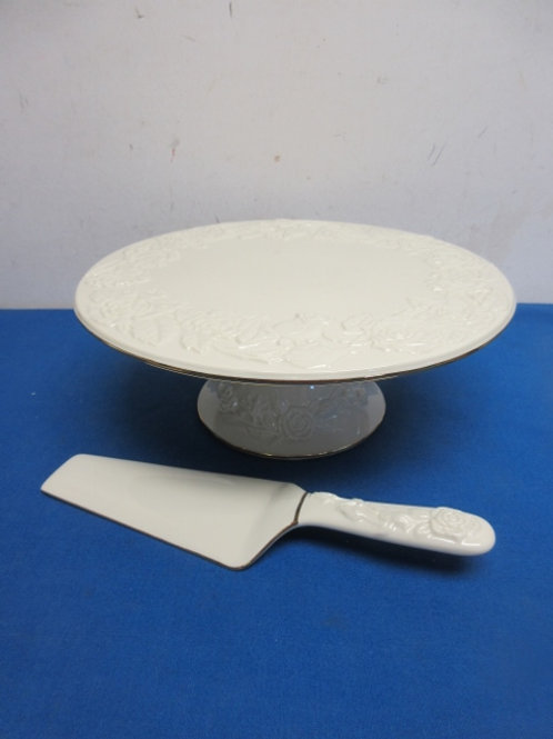 Royal Limited off white pedestal cake stand & serving utensil