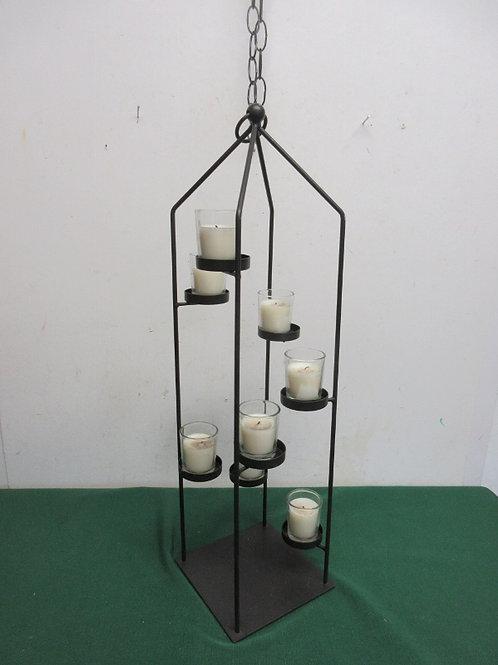 Black metal 8 candle hanging holder w/8 votive candle holders