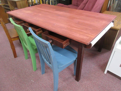 Outlook wooden childrens project table with 3 chairs, 3 drawers, & paper roll,