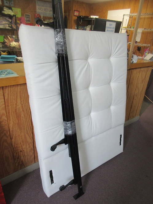 White twin headboard with tuffted buttons, includes black metal bed frame