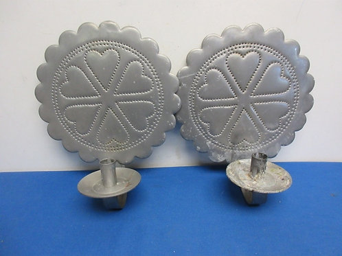 Pair of hand made tin punched candle scones heart design