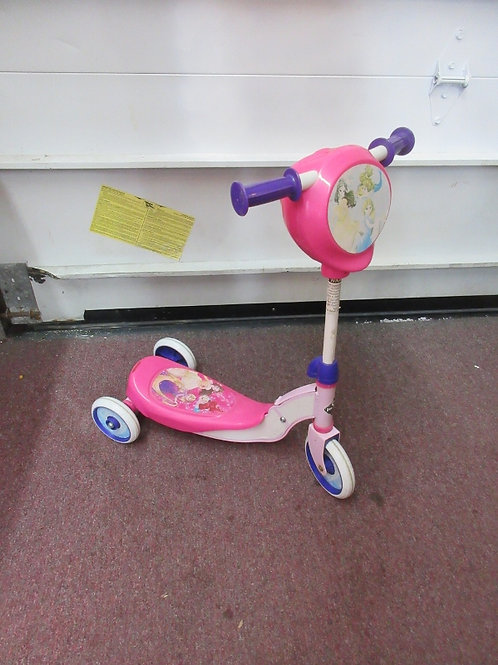 Pink and purple little princess 3 wheeled scooter