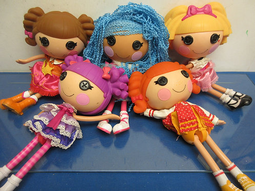 """Set of 5 Lalaloopsy large 13"""" dolls, group with blue string hair"""