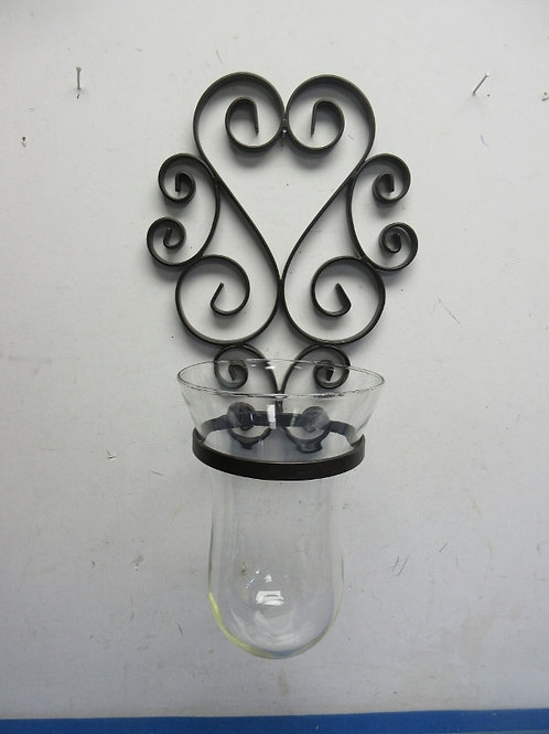 """Black metal scroll design wall sconce with large glass insert 16"""" tall"""