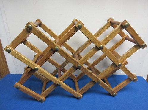 Wooden scissor style 8 bottle table top wine rack