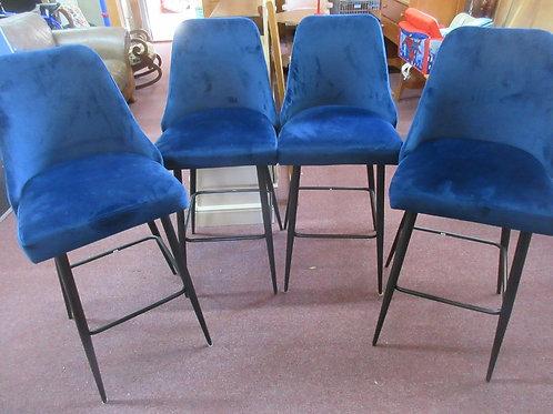 """Set of 4 blue velvet modern style bar stools - 30"""" high seat"""