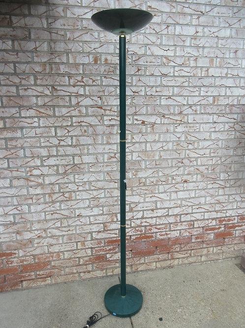 Green metal torch style halogen floor lamp