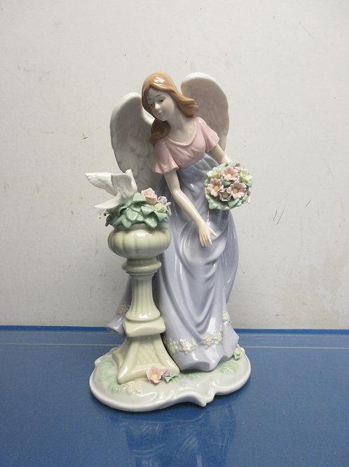"Angel with pedestal- dove on pedestal, 12"" high"