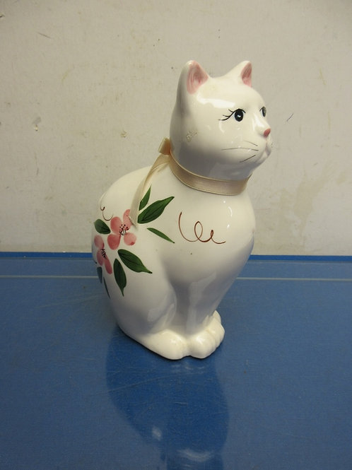 "Ceramic statue of white cat, floral design and pink ribbon - 9""high"