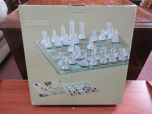 Sonoma 3 in 1 glass game set, chess, checkers & backgammon