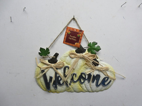 "Metal pumpkin Welcome wall hanging 7x11"" New"